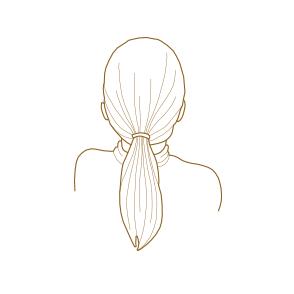 VÝKUP VLASOV - Ako správne odstrihnúť vlasy - Vlasy pevne zviažte do klasického copu nižšie na záhlaví.
